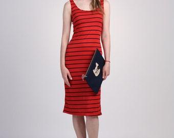 Red Striped Tank Top Dress, Sleeveless Midi Dress, Striped Jersey Dress, Sun Dress, Slim Dress, Scoop Neck Dress, Slip On Dress