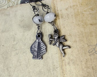 Rustic Assemblage Earrings | Love in Spades | White Quartz Saucers, Sterling Silver Wire, Tarnished Mismatch Lucky Charms | Cupid, Leaf