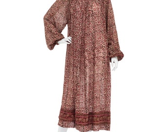 Vintage 70's Earthy Indian Sheer Cotton Ethnic Floral Print PUFF Sleeves Gauzy Hippie Boho Festival Tiered Tent Midi DRESS