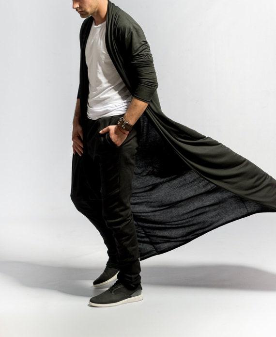Mens kimono cardigan / Longline Cardigan / Long black cardigan