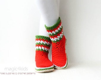 Crochet pattern- women XMAS boots with rope soles,Xmas stockings,soles pattern included,slippers,loafers,socks,women,girl,adult,cord,twine