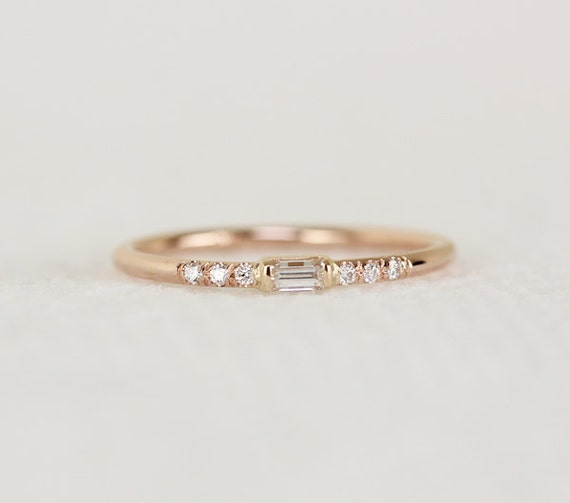 14k solid gold thin engagement ring with baguette by