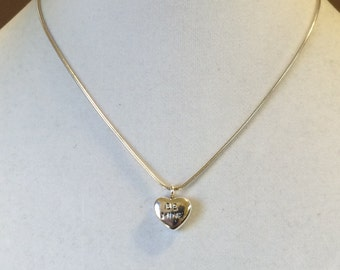 "Sterling Silver ""Be Mine"" Heart Pendant Necklace 16"""