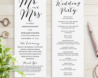 Wedding Programs instant download template. Sweet Bomb. Edit, print, trim | DIY Editable printable template | Word files A4 and 8.5x11