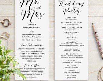 Wedding Programs Instant Download Template. Sweet Bomb. Edit, Print, Trim | DIY Editable Printable Template | Edit in WORD or PAGES