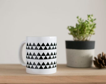 Scandinavian Mug, Triangle Mug, Geometric Mug, Minimalist Mug, Scandinavian Triangles, Printed Mug, Black And White Mug, Scandinavian Modern