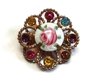 40's Guilloche Flower Brooch with Enameled Pink Rose & Rhinestone Accents Pave Set in Gold - Vintage Retro 1940's Costume Jewelry