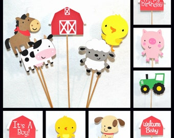 Farm Centerpiece Stick Diaper Cake Topper YOU CHOOSE Number & KiND 12 kinds READY to SHiP Old McDonald Birthday Farm Baby Shower Table Decor