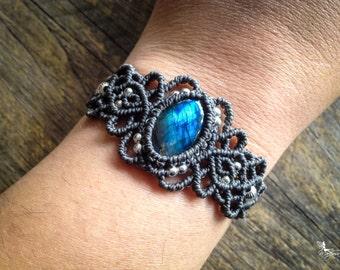 Boho Macrame bracelet labradorite with STERLING SILVER 925 beads bohemian jewelry by Creations Mariposa