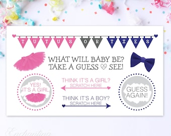 10 Baby Gender Reveal Scratch Off Cards -Guess the gender Tutus or Ties?