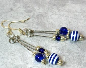 Blue & White Dangle Earrings: Nautical Look Drop Earrings, Women's Dangle Earrings, Nickle-Free Silver Earrings, Handmade in the USA