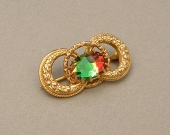 Antique Victorian LOVE KNOT Brooch Rainbow WATERMELON Glass Repousse Flower Scrollwork 1900s, Colorful Gift for Her