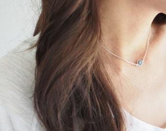 Raw Diamond Necklace, Rough Diamond Necklace, Choker Necklace, Silver Necklace, April Birthstone, Genuine Gemstone Necklace Diamond Jewelry