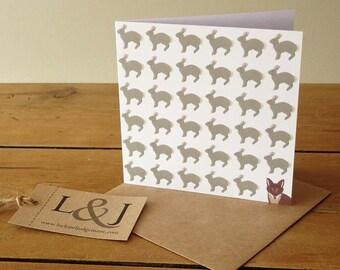 Woodland Fox - Fox Card - Bunny Card - Fox Illustration - Bunny Greeting Card - Fox Greeting Card - Bunny - Fox - Note Card - Wildlife Cards
