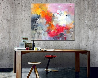 Abstract art painting original, Canvas Art Acrylic Painting, Abstract Canvas Wall Art, Contemporary Home Decor, Ready to hang Wall Art, red