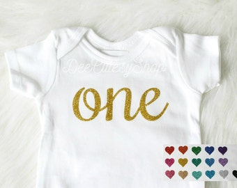 One Iron On, Gold One, Blue, Pink, Non-Shed Glitter, Shirt Iron On, DIY, Iron-On Heat Transfer, Glitter,First Birthday, Boy,Girl, Cake Smash
