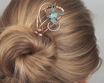Hair Fork, Hair Stick, Patina Copper HairPin with Flying Bird, Antiqued and Wire Wrapped, Unusual Hair Accessories for Women Gift for Her