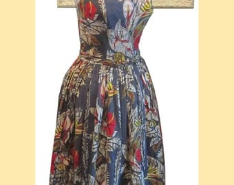 50's Tropical Tiki Dress w Sequin Rhinestone Bust - Fabric featured in Book on Vintage Fabrics