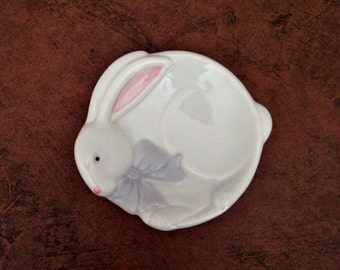 """Norcrest Baby's Soap Dish; Bunny Plate from Japan; Nursery Decor, Trinket Dish, or Teabag Holder; 3.75"""" Wide"""