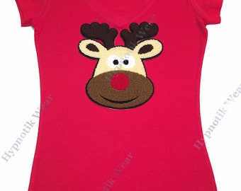 """Women's 3D Puffy T-Shirt """" Rudolph the Red Nose Reindeer """" in S, M, L, 1X, 2X, 3X Christmas"""