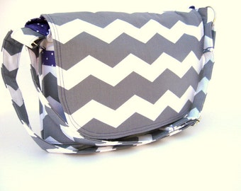 CROSS BODY MESSENGER Bag, Cross Body Purse, Chevron Bag, Your Choice For Lining Color, Women's Pocketbooks, Made To Order