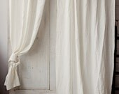 Stonewashed linen curtain. 9 colours. Linen window panel. Linen curtains with ties. Custom width and length. Window curtains. Ties top.