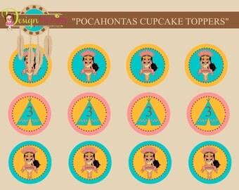 POCAHONTAS CUPCAKE TOPPERS, TeePee Cupcake Toppers, Princess Pocahontas Toppers, Printable, Disney Princess Pocahontas, Custom Topper, Dream
