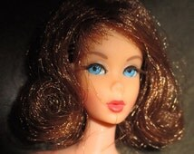 Vintage TNT Barbie Doll - 1966 Mattel Marlo Flip Hair - Brunette - Rooted Eyelahes - Bend and Click Legs - Made in Japan