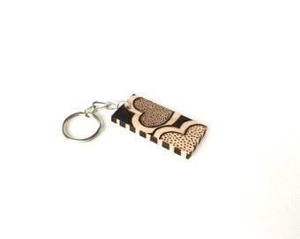Hearts Design Wooden Keychain Wood Burned Rustic Love Keychain