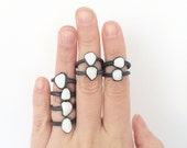 Oxidized Sterling Silver -White Pebble-Marble Pebble- Ring-Eco Ring-Nature Jewelry -White Stone-Minimalistic