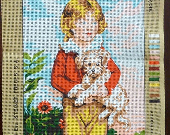 Needlepoint Canvas - Davis, Boy with Dog - Royal Paris, Made in France