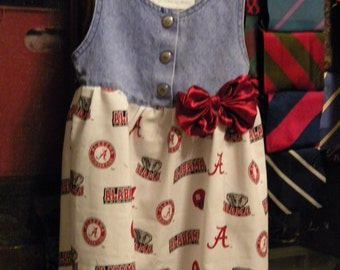 alabama dress.  child jean outfit.   Roll Tide, Yeah Alabama, Crimson Tide. . . . . .  Toddler Jean Dress 2T-3T