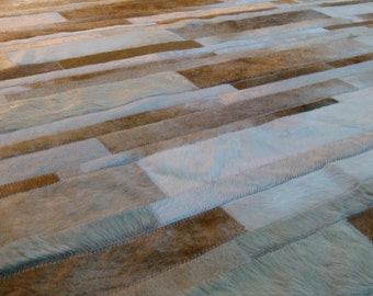 RAW Leather Argentina - COWHIDE RUGS Patchwork - Cordoba, Mix of Beiges, Whites and Caramel  5' x 7' - Handmade