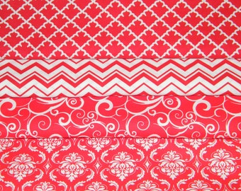 4 FQ Bundle – RED & WHITE Prints 100% Cotton Quilt Craft Fabric Fat Quarters