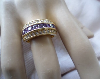 Antique vintage Gold Band Ring with Amethyst and Sapphire White stones ring Size 10 or U