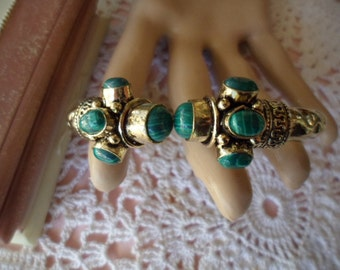 Antique vintage Victorian Gold Bangle with Malachite stones