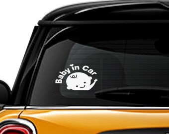 Baby in Car decal, FREE SHIPPING, White vinyl decal, Baby on board sticker, home decor family #114