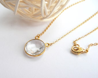 Clear Quartz Necklace, Gold Filled Necklace, Dainty Necklace, Gold Chain Necklace, Gold Filled Jewelry