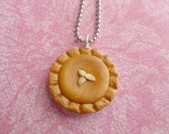 Pumpkin Pie Pendant Miniature Food Jewelry Polymer Clay Pumpkin Pie Necklace