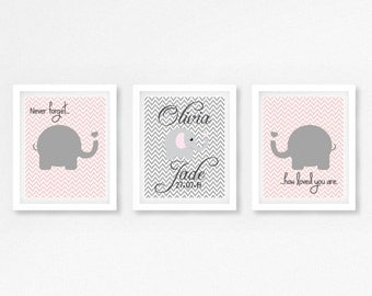 Baby Girl Elephant Decor, Pink and Grey Nursery Decor, Elephant Nursery Print, Personalised Nursery Print, Personalized Gift for Baby Girl