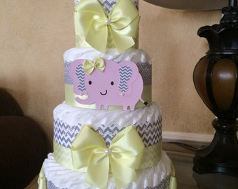 Elephant diaper cake/Pink grey and yellow elephant baby shower centerpiece/BABY Girl diaper cake/Baby girl baby shower gift /hospital gift
