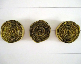 Yellow Tryptic Wall Hanging of Upcycled Cardboard