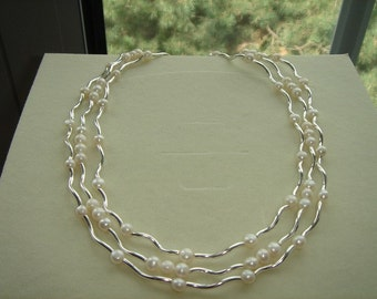 925 Silver necklace, more-row with Pearl! Very precious!
