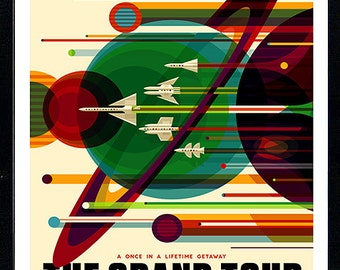 The Grand Tour NASA Graphic Inspirational Travel Poster Custom Framed Finest Quality