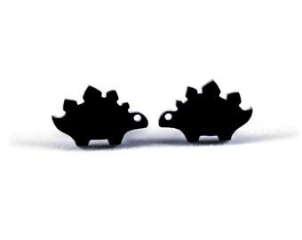 Stegosaurus Jurassic Stud Earrings, Cute Chibi Stego Dinosaur Earrings, Hypoallergenic Titanium Post Jewelry