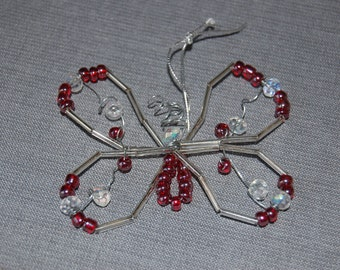 Butterfly beaded ornament ~ Cranberry ~ set of 2