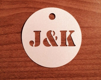 Round tags with personalized initials - wedding favor tags (set of 12)