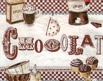 Set of 2 pcs 3-ply ''Chocolat'' paper napkins for Decoupage or collectibles 33x33cm, Retro napkins, Nostalgic napkins