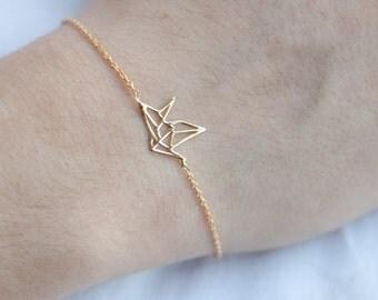 Origami Crane Bracelet - Gold Fill or Silver