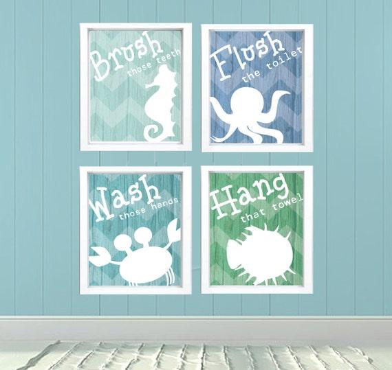 Kids bathroom signs undersea theme fish octopus starfish crab for Sea green bathroom ideas